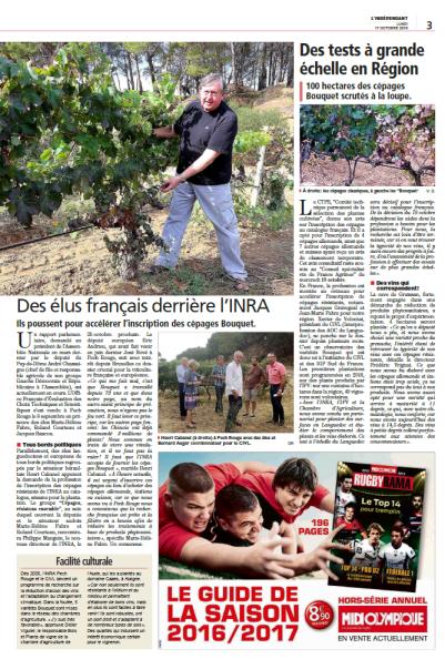 Page 2 de l'article de l'Indépendant du 17/10/2016